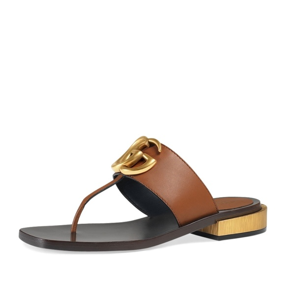 a875ee28e4d2 Gucci Shoes - Gucci Marmont Logo Leather Thong Sandal